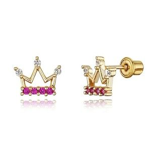Gold Plated Brass Princess Crown CZ Earrings